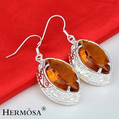 Glorious Marquise Sparkle Honey Topaz 925 Sterling Silver Earrings C8687
