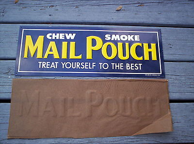 """MAIL POUCH TOBACCO SIGN EMBOSSED METAL LARGE 21"""" ORIGINAL AAA OHIO NOS"""