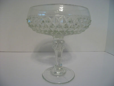 """Indiana Diamond Point Clear 7"""" Compote"""