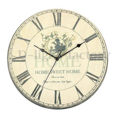 Large Vintage Rustic Retro Antique Shabby Chic Wall Clock Home Kitchen Decor
