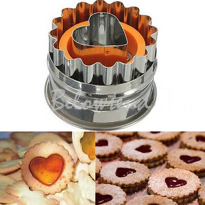 Stainless Love Heart Cake Biscuit Pastry Cookies Cutter Wave Round Baking Mold