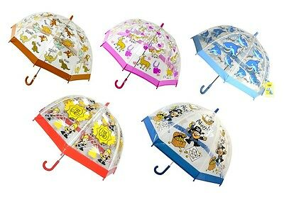 Bugzz Children's Kids Clear Dome Umbrella Various Prints Girls Boys Fun Umbrella