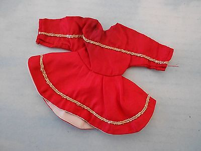 vintage Tammy Tressy Terri Lee or similar doll clothes - red dress w/gold trim