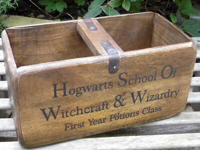 Vintage Hogwarts School Harry Potter Rustic Pine Chest Wooden Storage Box Crate