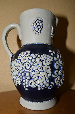 Vintage German Marzi Remy Pitcher Krug Stoneware Cobalt Blue Gray Grape Leaf