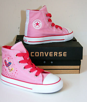 Kids Toddlers Girl CONVERSE All Star PINK HEARTS HI TOP Trainers Boots SIZE UK 8