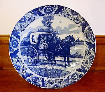 """Delft Blue handpainted Holland 15"""" Wall Plate/ Charger - Horse & Carriage Scape"""