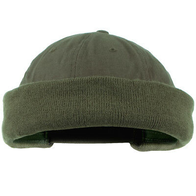 Commando Watch Cap Round Beanie Hat Extra Short Docker Work Security Olive