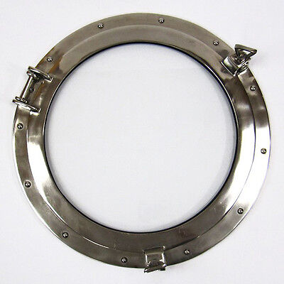 "Ships Porthole Glass Window 20"" Aluminum Chrome Finish Round Nautical Wall Decor"