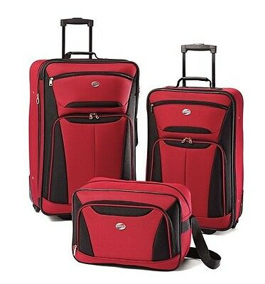 American Tourister Fieldbrook II 3 Piece Luggage Set Red/Black