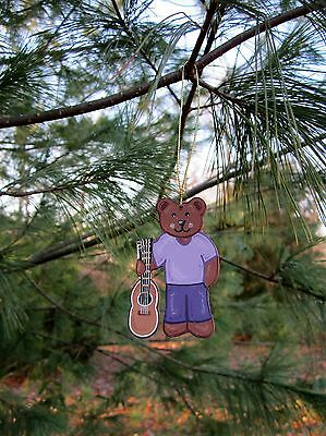 Guitar Bear - handpainted wooden ornament #541