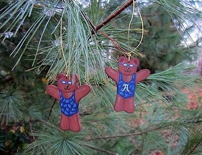 Swimmer Bear - handpainted wooden ornament #544