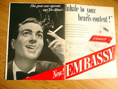 1949 Embassy Cigarettes Ad Inhale to Your Heart's Content