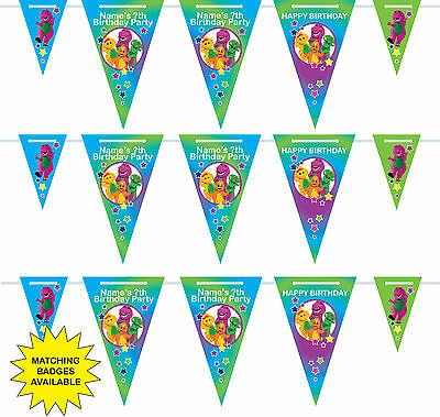 Personalised Barney Childrens Birthday Bunting Banne - 3m - 15 pendants-name-age