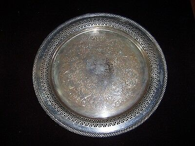 Large Wm. Rogers Silver Plated Pierced Tray - No. 170 - Engraved FWBC 2nd 1959