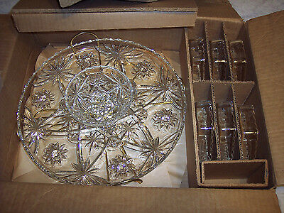 9 PC EARLY AMERICAN PRESCUT LAZY SUSAN STAR OF DAVID OLD STOCK ANCHOR HOCKING