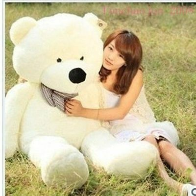 """LinBoutique 78"""" 200 cm White Teddy Bear Giant Huge Stuffed Animal Plush Toy Hand"""