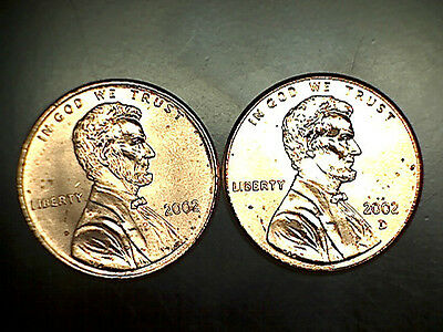 2002 P D Lincoln Memorial Cent Penny BU Brilliant Uncirculated Set From Rolls