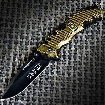 OFFICIALLY LICENSED US ARMY Spring Assisted Open POCKET FOLDING KNIFE Rescue NEW