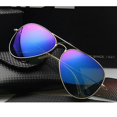 Aviator Sunglasses Vintage Mirror Lens New Mens Women Fashion Frame Retro Blue