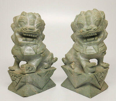 Pair of Vintage Carved Stone Foo Dogs.  Carved From Natural Unpolished Stone