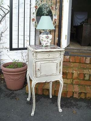 Antique French Shabby Chic Marble Top Cupboard Cabinet