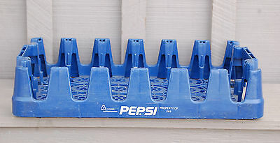 Old Vintage Blue Plastic Pepsi Soda Bottle Crate / Carrier Open Box Garden Tool