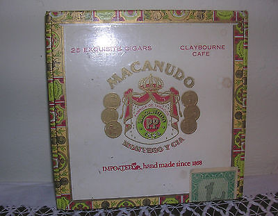 Old Vintage Macanudo Montego y Cia Claybourne Cafe Wooden Cigar Box Sold Empty!