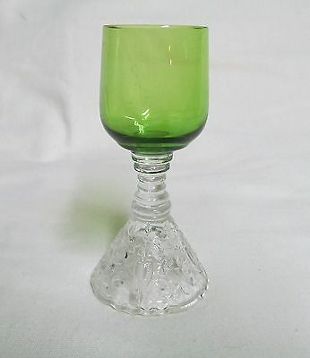 Cambridge Pressed Glass Rose Point Cordial Glass - Green