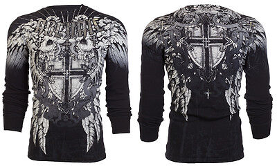 Archaic AFFLICTION Mens THERMAL T-Shirt CRITERION Skulls Tattoo Biker M-3XL $58