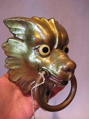 Exceptional Antique Pair Gilt Bronze Griffin/ Gargoyle Head corner Ornament