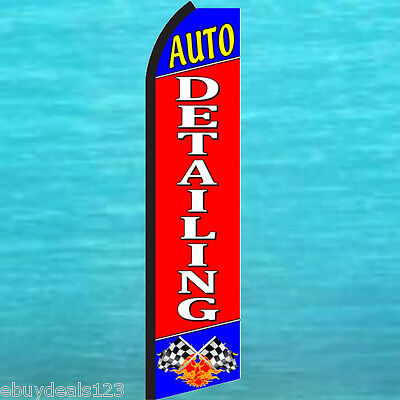 AUTO DETAILING FLUTTER FEATHER FLAG Car Wash Swooper Advertising Sign Banner