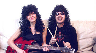 Deluxe High Quality Mens 80's Curly Slash Wig Guitar Rocker Hair Metal Band