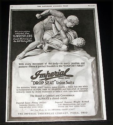 "1918 Old Magazine Print Ad, Imperial ""drop Seat"" Union Suits, The Wrestlers Art!"