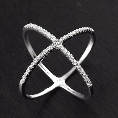 Womens 925 Sterling Silver Cross CZ Micro Pave Setting X Ring