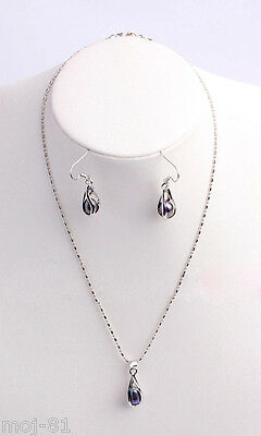 Rare Natural 7-8mm Black Akoya Cultured Pearl Necklace Pendant Earring Jewel Set