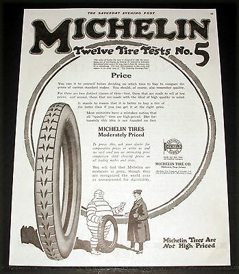 1918 Old Magazine Print Ad, Michelin Tires, Moderately Priced, Remember Quality!