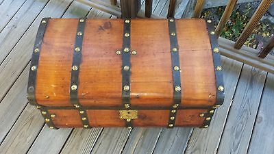 *RARE* *Antique 1860's 5 band Jenny Lind Stagecoach Trunk/Chest All Original*