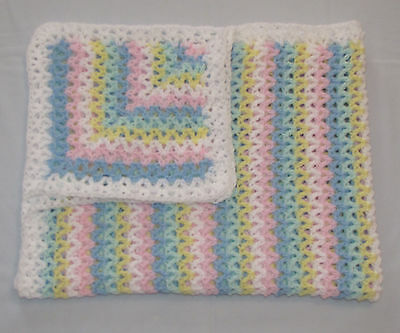 New White Blue Pink Yellow Green Crochet Baby Blanket Afghan