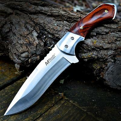 """9"""" M-TECH TACTICAL Hunting Survival FULL TANG FIXED BLADE KNIFE Wood w/ SHEATH"""