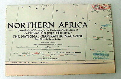 Vintage National Geographic Map Of Northern Africa December 1954