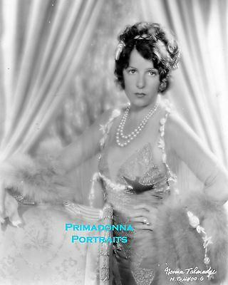 NORMA TALMADGE  8X10 Lab Photo 1930's Lovely Boudoir Sexy Bedroom Lace & Pearls