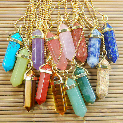 Natural Gemstones Hexagonal Pointed Reiki Chakra Pendant 18K Gold Necklace