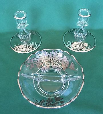 Viking Princess Candle Holder Pair & Bowl Silver Overlay Flanders 3 Pieces