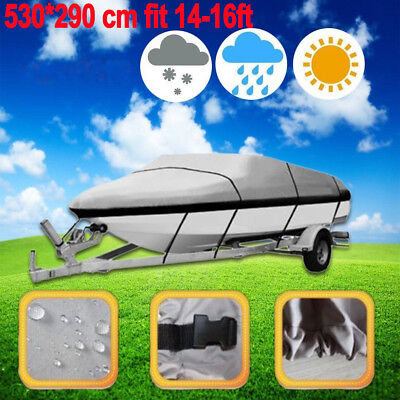 14-16ft Heavy Duty Speedboat Boat Cover Grey Waterproof Match Fish-Ski V-Hull