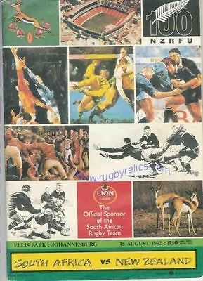 SOUTH AFRICA v NEW ZEALAND 1992 - 15 August RUGBY PROG