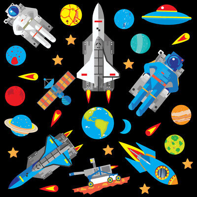 Space Rocket Ship Stars Planets Nursery Wall Stickers Kids Vinyl Wall Decals R4