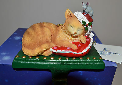 """MARURI """"RUFFLES"""" Tabby Cat Stocking Holder, Holiday Collection, Brand new in box"""