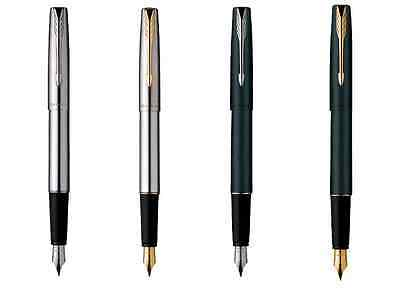 Parker Frontier Stainless Steel Ink / Fountain Pen In Chrome / Gold Plated Trim