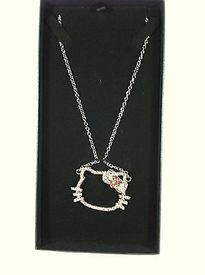 """Sanrio Hello Kitty Rhinestone Outline Face Necklace Appr. 16"""" Chain In Gift Box"""